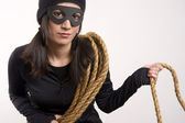 Masked Lawless Bandit Lurks Around With Rope — Stock Photo