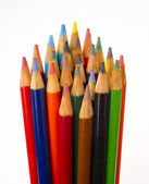 Art Supplies Color Pencils in A Group on White — Stock Photo