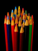 Art Supplies Color Pencils in A Group on Black — Stock Photo