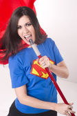 Super Mom Everyday Hero Singing Kareoke with Broom Stick — Stock Photo