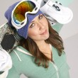 Snowboard and Fun Loving Female in Teal — Stock Photo