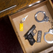 Desk Drawer of a Law Enforcement Officer - Stok fotoğraf