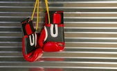 Red Boxing Gloves Hanging on a Hook — Stock Photo