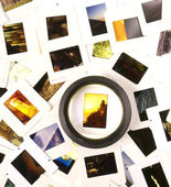 Mounted Slide Film and Loupe Sitting on The Lightbox — Stock Photo