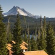 Panoramic View Cabins Around Olallie Lake Near Mount Jefferson — Stock Photo