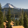 Panoramic View Cabins Around Olallie Lake Near Mount Jefferson - Stock Photo