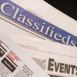 Classified Help Wanted Job Offered Ads in Traditional Print News - Stock Photo