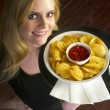Young Attractive Female Server Brings Appetizer Chips Salsa Food — Stok fotoğraf
