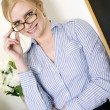 Beautiful Blond Intellectual Woman in the Field Education — Stock Photo