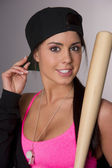 Pretty Female Baseball Lover Adjusts Hat Holding Wooden Bat — Stock Photo