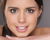 Attractive Young Vibrant Woman in an Extreme Face Close Up — Stock Photo