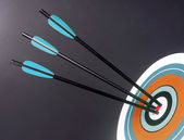 Three Blue Black Archery Arrows Hit Round Target Bullseye Center — Stock Photo