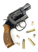 Wood Handled Revolver 38 Caliber Pistol Loaded Laying With Bulli — Stock Photo