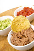 Food Appetizers Chips Salsa Refried Beans Guacamole Wood Cutting — Stock Photo