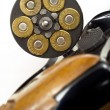 Loaded Bullets in Gun Chamber 38 Special Ready Aim Fire - Stock Photo