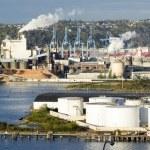 West Coast Seaport Big City Tide Flats Commencement Bay — Stock Photo