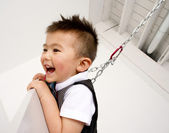 Horizontal Composition Happy Young Boy Playing Chain Swing Set — Stock Photo