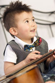 Happy Two Year Old Boy Interested in Arts and Music — Stock Photo
