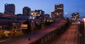 Interstate 705 City Center Tacoma Washington Skyline ay Dusk — Stock Photo