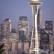Buildings City Downtown Seattle Washington Space Needle Sunset V — Stock Photo