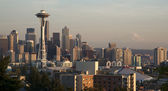 Downtown Seattle Washington Space Needle Mt. Rainier Sunset — Stock Photo
