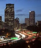 Buildings City Downtown Seattle Washington Interstate 5 Sunset V — Stock Photo