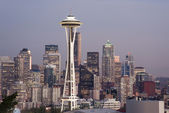 Buildings Downtown Seattle Washington Space Needle Sunset — Stock Photo