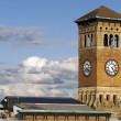 Old Tacoma City Hall Brick Building Architectural Clock Tower - Stock Photo