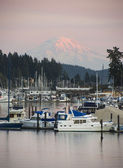 Mt Rainier Yachts Boats and Buildings Gig Harbor Washington Nort — Stock Photo