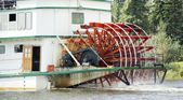 Sternwheeler Churning Moves Riverboat Paddle Steamer Vessel Down River — Stock Photo