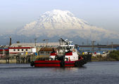 Tugboat Guide Vessel Waterfront Bay Thea Foss Waterway Rainier — Stok fotoğraf