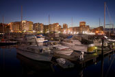 Night Falls on Moored Boats Marina Thea Foss Waterway Tacoma — Stock Photo