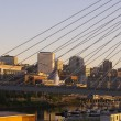 Springtime Dawn Suspension Bridge Highway 509 Downtown Tacoma Wa — Stock Photo