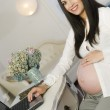 Pregnant Woman Smiling Still Working Expecting Baby Girl Compute — Stock Photo