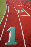 Stadium Running Track Lane Markers Sports Field Number Markings — Stock Photo