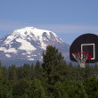 Stock Photo: Basketball Hoop Backboard Mountain Background Mt Adams Cascade Range
