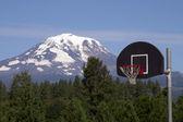 Basketball Hoop Backboard Mountain Background Mt Adams Cascade Range — Stock Photo