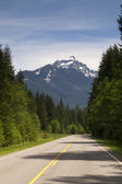 Two Lane Highway Winds Through North Cascade Mountain Washington — Stock Photo