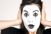 Beautiful Brunette Woman Theatrical Performance Mime Dance White — Stock Photo