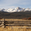 Stock Photo: Ranch Range Fence Sun Valley Idaho Sawtooth Mountain Range