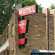 Local Motel Downtown Two Story Lodging Travel Accomodations Bus — Stock Photo