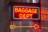 Red Neon Sign Indoor Depot Signage Arrow Points Baggage Dept — Stock Photo