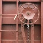 Railroad Boxcar Hand Brake Adjustment Wheel Cargo Transporter — Stock Photo