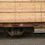 Lumber Loaded Railroad Car Transportation Boxcar Contruction Material — Stock Photo