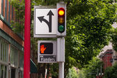 Traffic Pedestrian and Directional Symbols Signals Downtown Street — Stock Photo