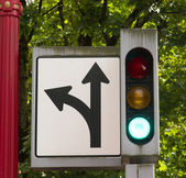 Traffic and Directional Symbols Signals Downtown Street Corner — Stock Photo