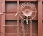 Railroad Boxcar Hand Brake Adjustment Wheel Cargo Transporter — Stock Photo