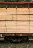 Lumber Loaded Railroad Car Transportation Boxcar Contruction Material — Stock Photo
