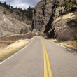 Tow Lane Highway Travels Rugged Territory Western United States — Stock Photo