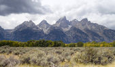 Overcast Day Jagged Peaks Grand Teton Wyoming Rocky Mountains — Stock Photo